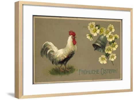 Präge Glückwunsch Ostern, Hahn, Glocke, Blüten--Framed Art Print