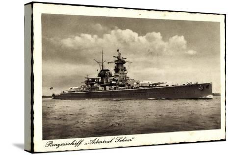 Panzerschiff Admiral Soheer, Deutsches Kriegsschiff--Stretched Canvas Print