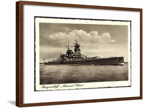 Panzerschiff Admiral Soheer, Deutsches Kriegsschiff--Framed Art Print