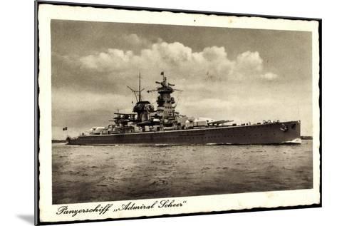Panzerschiff Admiral Soheer, Deutsches Kriegsschiff--Mounted Giclee Print