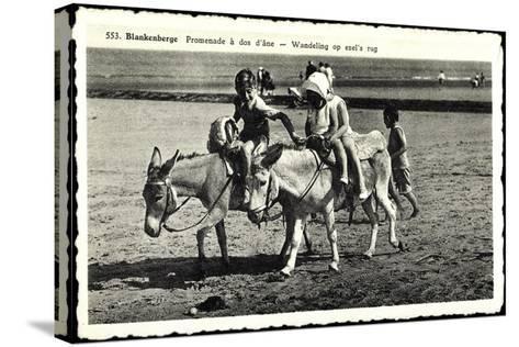Blankenberge Westflandern, Promenade À Dos D'Âne, Kinder Auf Esel--Stretched Canvas Print