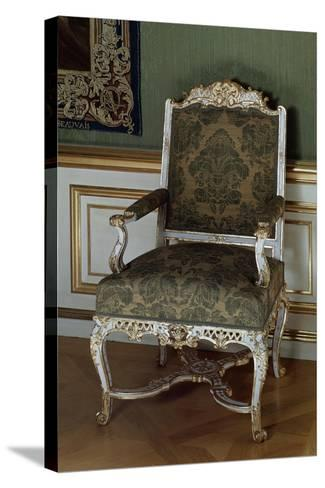 Armchair, Painted and Gilded Carved Wood, Southern Germany--Stretched Canvas Print