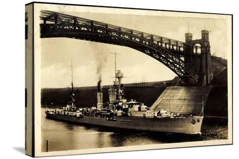 Kreuzer Emden, Wilhelm Kanal, Levensauer Hochbrücke--Stretched Canvas Print