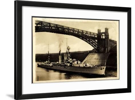 Kreuzer Emden, Wilhelm Kanal, Levensauer Hochbrücke--Framed Art Print
