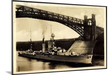 Kreuzer Emden, Wilhelm Kanal, Levensauer Hochbrücke--Mounted Giclee Print