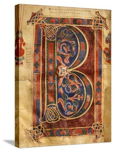 Illuminated Initial Capital Letter from a Gospels from San Benedetto Po--Stretched Canvas Print