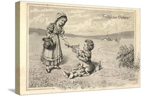 Künstler Glückwunsch Ostern, Kinder, Osterhase, Ort--Stretched Canvas Print