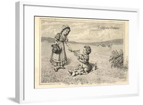 Künstler Glückwunsch Ostern, Kinder, Osterhase, Ort--Framed Art Print