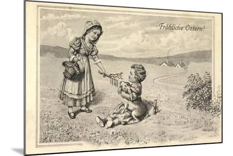 Künstler Glückwunsch Ostern, Kinder, Osterhase, Ort--Mounted Giclee Print