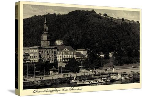 Bad Schandau,Dampfer Leipzig, Elbe, Ort, Kirche,Berg--Stretched Canvas Print