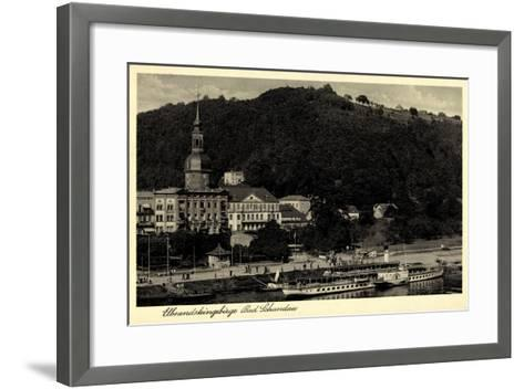 Bad Schandau,Dampfer Leipzig, Elbe, Ort, Kirche,Berg--Framed Art Print