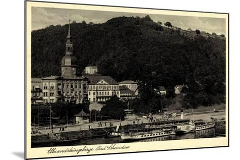 Bad Schandau,Dampfer Leipzig, Elbe, Ort, Kirche,Berg--Mounted Giclee Print
