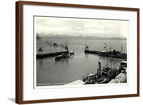 Friedrichshafen Am Bodensee, Hafeneinfahrt, Dampfer--Framed Art Print