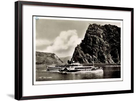 Loreley, Dampfschiff Schiller, Binnenschiffahrt Rhein--Framed Art Print