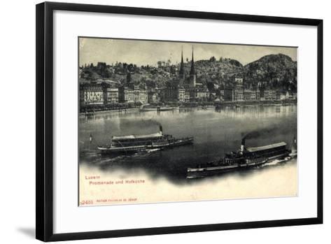 Luzern, Luzerner See, Dampfer Victoria Und Schweiz--Framed Art Print