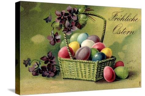Präge Ak, Korb Mit Ostereiern Und Blumen--Stretched Canvas Print