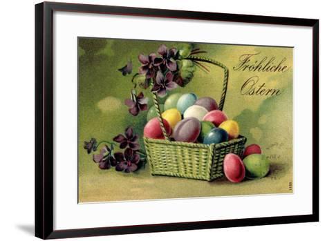 Präge Ak, Korb Mit Ostereiern Und Blumen--Framed Art Print