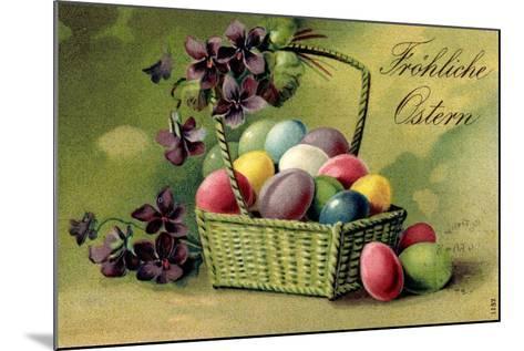 Präge Ak, Korb Mit Ostereiern Und Blumen--Mounted Giclee Print