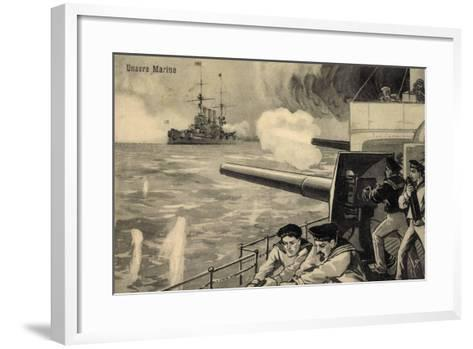 Künstler Unsere Marine, Deutsche Matrosen Im Gefecht--Framed Art Print
