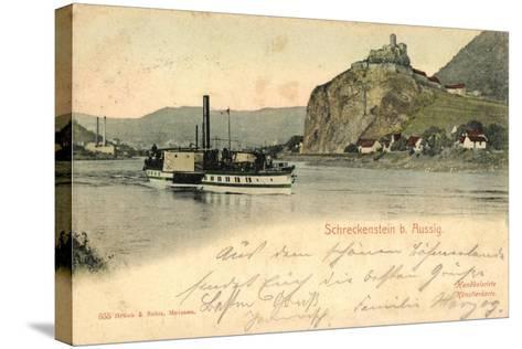 Schreckenstein Bei Aussig, Dampfer, Fabrik--Stretched Canvas Print
