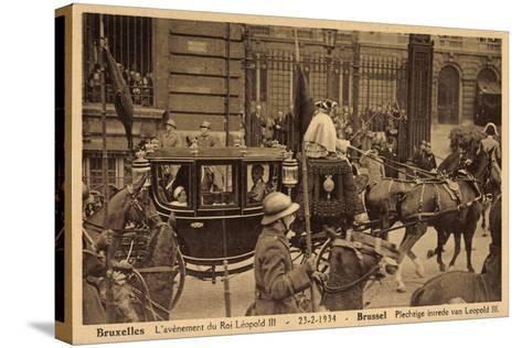 Brüssel, König Leopold Iii, Kutsche, Empfang 1934--Stretched Canvas Print