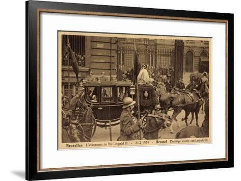 Brüssel, König Leopold Iii, Kutsche, Empfang 1934--Framed Art Print