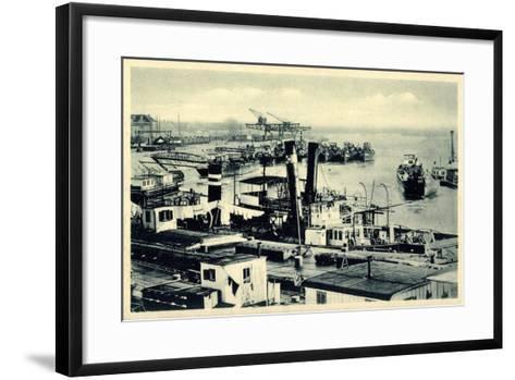 Komarno Ukraine, Donauansicht Mit Häfen, Schiffe--Framed Art Print