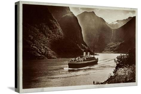 Dampfschiff Der Hsdg Unterwegs Im Nordland, Fjord--Stretched Canvas Print