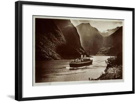 Dampfschiff Der Hsdg Unterwegs Im Nordland, Fjord--Framed Art Print