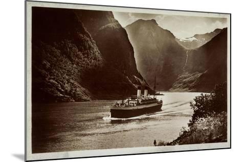 Dampfschiff Der Hsdg Unterwegs Im Nordland, Fjord--Mounted Giclee Print