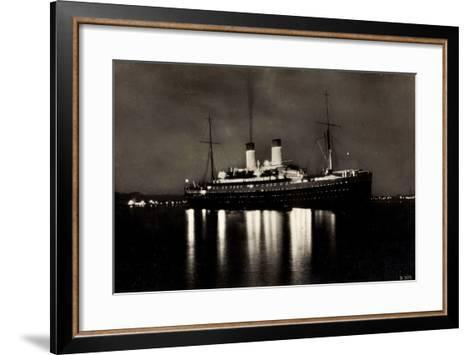 HSDG, Dampfschiff M.S. Monte Rosa Bei Nacht--Framed Art Print
