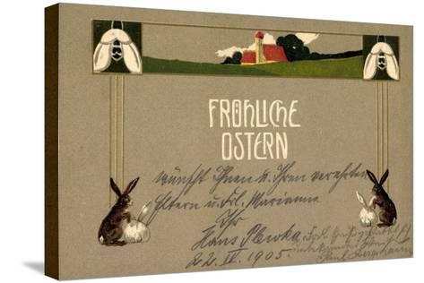 Präge Frohe Ostern, Osterhasen, Feld, Haus, Blumen--Stretched Canvas Print