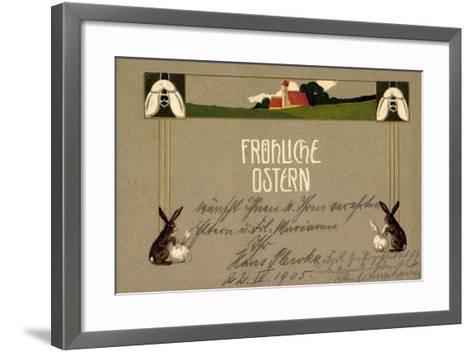 Präge Frohe Ostern, Osterhasen, Feld, Haus, Blumen--Framed Art Print