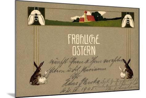 Präge Frohe Ostern, Osterhasen, Feld, Haus, Blumen--Mounted Giclee Print