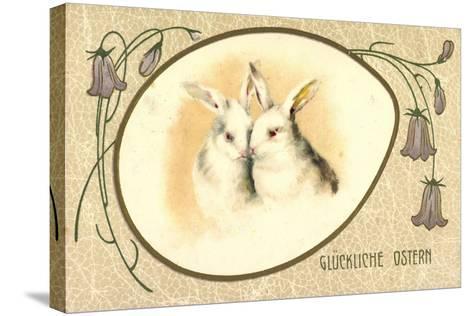 Passepartout Präge Litho Glückliche Ostern, Hasen--Stretched Canvas Print