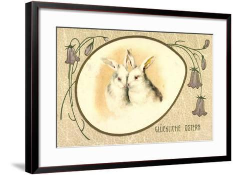 Passepartout Präge Litho Glückliche Ostern, Hasen--Framed Art Print
