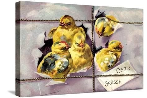 Präge Litho Frohe Ostern, Küken Schlüpfen Aus Paket--Stretched Canvas Print