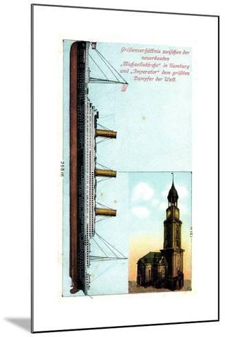 Gr??enverh?ltnis Zw. Dampfer Imperator Und Kirche--Mounted Giclee Print