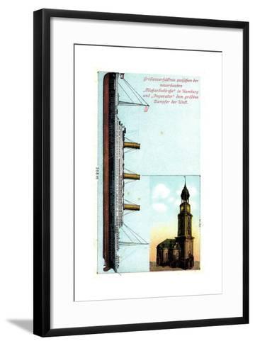 Gr??enverh?ltnis Zw. Dampfer Imperator Und Kirche--Framed Art Print