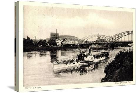 Beverungen, Brücke, Dampfschiff, Blick Zur Stadt--Stretched Canvas Print