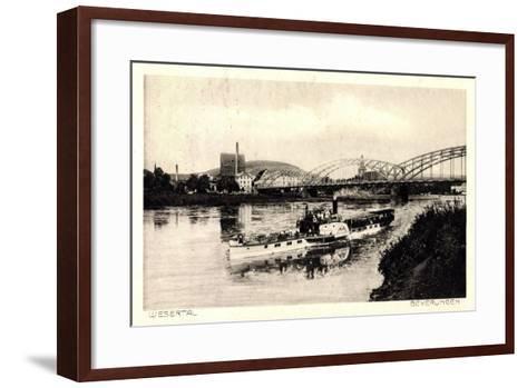 Beverungen, Brücke, Dampfschiff, Blick Zur Stadt--Framed Art Print