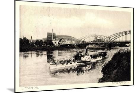 Beverungen, Brücke, Dampfschiff, Blick Zur Stadt--Mounted Giclee Print