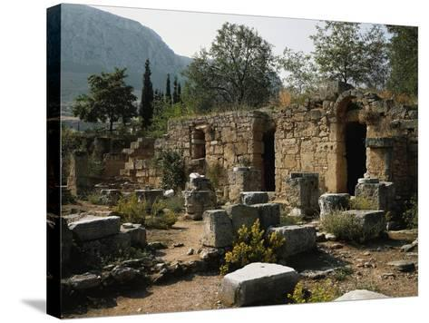 Remains of the Roman Agora with Shops, Corinth, Greece--Stretched Canvas Print