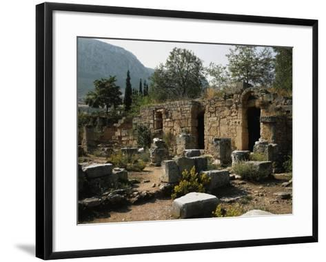 Remains of the Roman Agora with Shops, Corinth, Greece--Framed Art Print