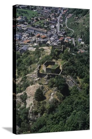 Italy, Aosta Valley, Pont-Saint-Martin, Ruins of Castle, Aerial View--Stretched Canvas Print