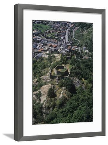 Italy, Aosta Valley, Pont-Saint-Martin, Ruins of Castle, Aerial View--Framed Art Print