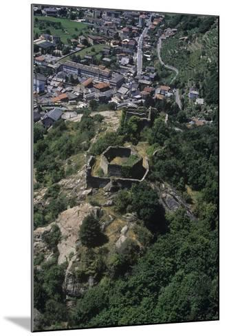 Italy, Aosta Valley, Pont-Saint-Martin, Ruins of Castle, Aerial View--Mounted Giclee Print