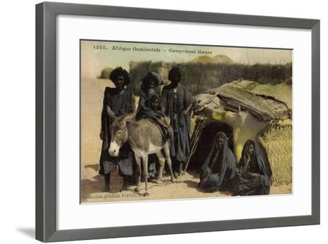 Afrique Occidentale, Campement Maure, Mauren, Volkstypen, Frauen, Esel--Framed Art Print