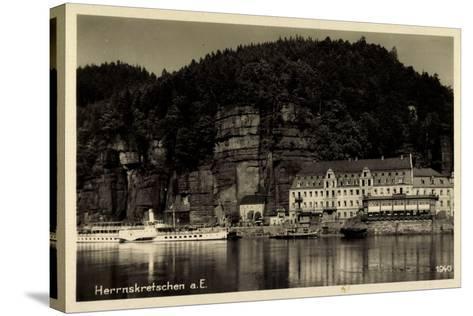 Herrnskretschen Elbe Region Aussig, Hotel, Dampfer Dresden--Stretched Canvas Print
