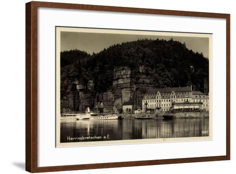 Herrnskretschen Elbe Region Aussig, Hotel, Dampfer Dresden--Framed Art Print